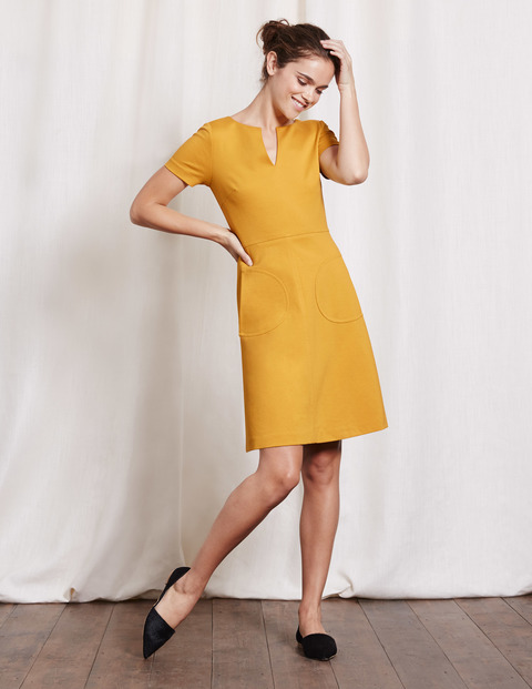Carolyn Ponte Dress Saffron Women, Saffron - style: shift; neckline: v-neck; pattern: plain; predominant colour: mustard; occasions: evening; length: just above the knee; fit: soft a-line; fibres: cotton - stretch; sleeve length: short sleeve; sleeve style: standard; pattern type: fabric; texture group: woven light midweight; season: s/s 2016; wardrobe: event