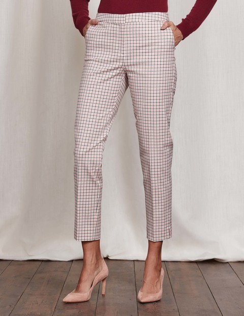 Richmond 7/8 Trousers Check Women, Check - pattern: checked/gingham; waist: mid/regular rise; predominant colour: white; secondary colour: camel; length: ankle length; fibres: cotton - 100%; fit: slim leg; pattern type: fabric; texture group: woven light midweight; style: standard; occasions: creative work; pattern size: standard (bottom); season: s/s 2016; wardrobe: highlight