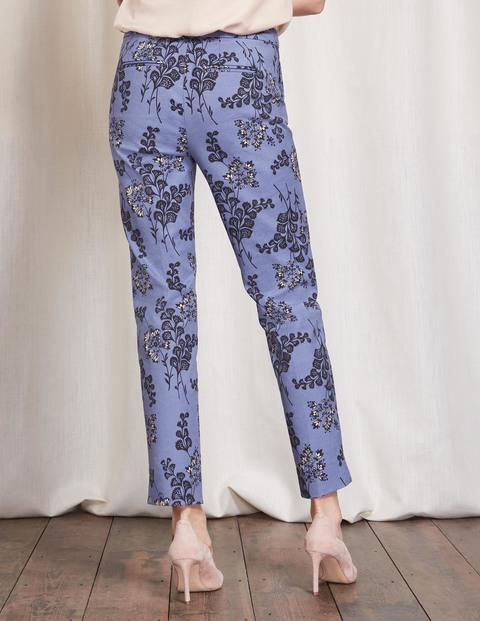 Richmond 7/8 Trousers Floral Print Women, Floral Print - style: peg leg; waist: mid/regular rise; predominant colour: pale blue; occasions: casual; length: ankle length; fibres: cotton - stretch; fit: tapered; pattern type: fabric; pattern: patterned/print; texture group: woven light midweight; season: s/s 2016; wardrobe: highlight