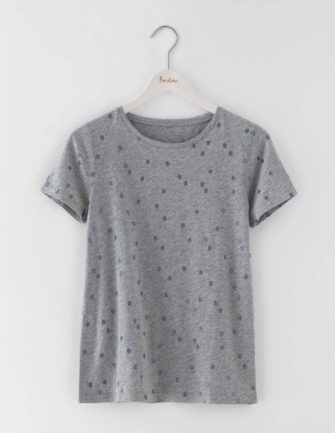 Make A Statement Tee Grey Marl Wobbly Spot Women, Grey Marl Wobbly Spot - style: t-shirt; predominant colour: mid grey; occasions: casual, creative work; length: standard; fibres: cotton - stretch; fit: body skimming; neckline: crew; sleeve length: short sleeve; sleeve style: standard; texture group: jersey - clingy; pattern type: fabric; pattern size: standard; pattern: patterned/print; season: s/s 2016; wardrobe: highlight