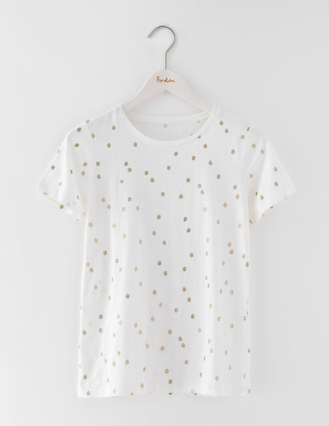Make A Statement Tee Ivory Wobbly Spot Women, Ivory Wobbly Spot - style: t-shirt; pattern: polka dot; predominant colour: white; secondary colour: gold; occasions: casual; length: standard; fibres: cotton - 100%; fit: body skimming; neckline: crew; sleeve length: short sleeve; sleeve style: standard; pattern type: fabric; texture group: jersey - stretchy/drapey; multicoloured: multicoloured; season: s/s 2016; wardrobe: highlight