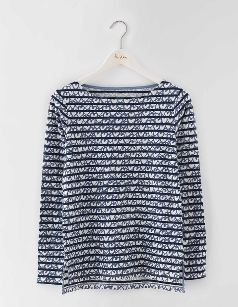 Make A Statement Breton Heart Print Women, Heart Print - pattern: horizontal stripes; secondary colour: white; predominant colour: navy; occasions: casual; length: standard; style: top; fibres: cotton - 100%; fit: body skimming; neckline: crew; sleeve length: long sleeve; sleeve style: standard; texture group: knits/crochet; pattern type: knitted - fine stitch; multicoloured: multicoloured; season: s/s 2016; wardrobe: basic
