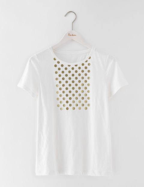 Make A Statement Tee Ivory/Gold Spots Women, Ivory/Gold Spots - style: t-shirt; predominant colour: ivory/cream; secondary colour: gold; occasions: casual; length: standard; fibres: cotton - 100%; fit: body skimming; neckline: crew; sleeve length: short sleeve; sleeve style: standard; pattern type: knitted - fine stitch; pattern: patterned/print; texture group: other - light to midweight; season: s/s 2016; wardrobe: highlight