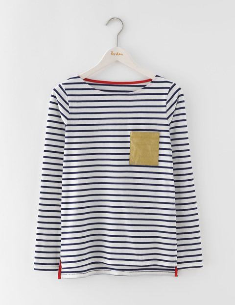Make A Statement Breton Gold Glitter Pocket Women, Gold Glitter Pocket - pattern: horizontal stripes; predominant colour: white; secondary colour: navy; occasions: casual; length: standard; style: top; fibres: cotton - 100%; fit: body skimming; neckline: crew; sleeve length: long sleeve; sleeve style: standard; pattern type: fabric; texture group: jersey - stretchy/drapey; multicoloured: multicoloured; season: s/s 2016; wardrobe: basic