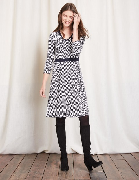Lucinda Knitted Dress Navy/Ivory Women, Navy/Ivory - neckline: v-neck; pattern: striped; secondary colour: ivory/cream; predominant colour: navy; occasions: casual; length: just above the knee; fit: fitted at waist & bust; style: fit & flare; fibres: cotton - mix; sleeve length: 3/4 length; sleeve style: standard; texture group: knits/crochet; pattern type: knitted - other; pattern size: standard; multicoloured: multicoloured; season: s/s 2016; wardrobe: highlight