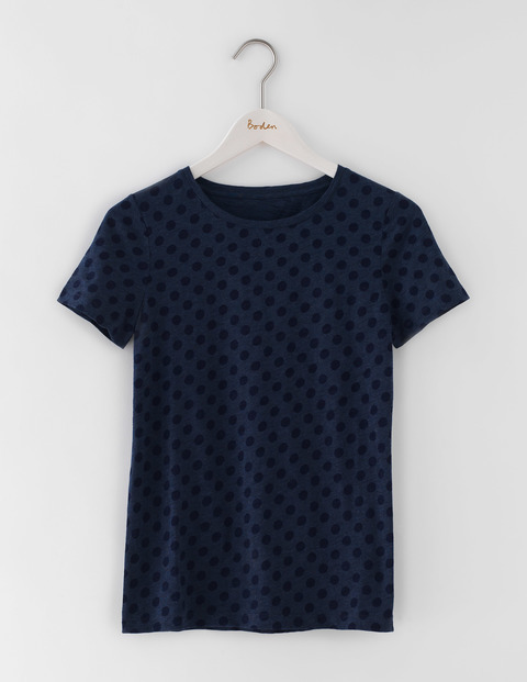 Make A Statement Tee Dark Indigo/Navy Spots Women, Dark Indigo/Navy Spots - style: t-shirt; predominant colour: navy; secondary colour: black; occasions: casual; length: standard; fibres: cotton - 100%; fit: body skimming; neckline: crew; sleeve length: short sleeve; sleeve style: standard; pattern type: fabric; pattern: patterned/print; texture group: jersey - stretchy/drapey; multicoloured: multicoloured; season: s/s 2016; wardrobe: highlight