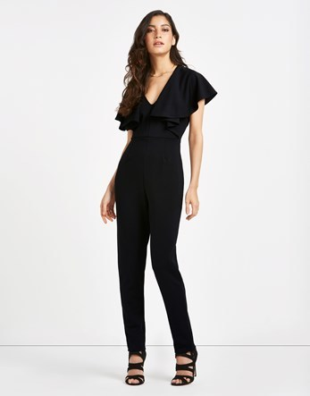 Frill Shoulder Jumpsuit - length: standard; neckline: low v-neck; sleeve style: angel/waterfall; fit: tailored/fitted; pattern: plain; predominant colour: black; occasions: evening, occasion; fibres: polyester/polyamide - 100%; sleeve length: short sleeve; texture group: crepes; style: jumpsuit; pattern type: fabric; season: s/s 2016; wardrobe: event