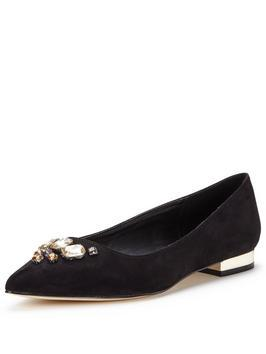 Myrtle Pointed Flat With Embellishment Black - predominant colour: black; occasions: work, creative work; heel height: flat; embellishment: crystals/glass; toe: pointed toe; style: ballerinas / pumps; finish: plain; pattern: plain; secondary colour: clear; material: faux suede; season: s/s 2016; wardrobe: basic