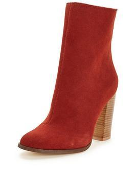 Pearl Suede High Leg Ankle Boot Rust - occasions: casual, creative work; material: suede; heel height: high; heel: block; toe: round toe; boot length: ankle boot; style: standard; finish: plain; pattern: plain; predominant colour: raspberry; season: s/s 2016; wardrobe: highlight
