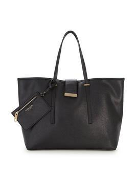 Mollie Large Shopper Black - secondary colour: gold; predominant colour: black; occasions: casual, creative work; type of pattern: standard; style: tote; length: handle; size: standard; material: leather; pattern: plain; finish: plain; season: s/s 2016