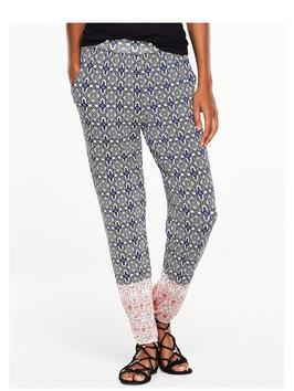 Cuffed Jersey Trouser - length: standard; pocket detail: pockets at the sides; waist: mid/regular rise; secondary colour: white; predominant colour: navy; occasions: casual, creative work; fibres: viscose/rayon - stretch; fit: straight leg; pattern type: fabric; pattern: patterned/print; texture group: other - light to midweight; style: standard; pattern size: big & busy (bottom); multicoloured: multicoloured; season: s/s 2016; wardrobe: highlight