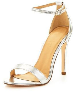 Bella Ankle Strap Minimal Heeled Sandal - predominant colour: silver; occasions: evening, occasion; material: faux leather; ankle detail: ankle strap; heel: stiletto; toe: open toe/peeptoe; style: standard; finish: metallic; pattern: plain; heel height: very high; season: s/s 2016; wardrobe: event