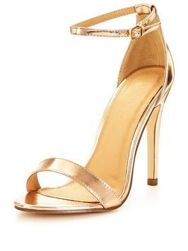 Bella Ankle Strap Minimal Heeled Sandal - predominant colour: gold; occasions: evening, occasion; material: faux leather; ankle detail: ankle strap; heel: stiletto; toe: open toe/peeptoe; style: standard; finish: metallic; pattern: plain; heel height: very high; season: s/s 2016; wardrobe: event