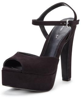 Georgia Platform Sandal Black - predominant colour: black; occasions: evening, occasion; ankle detail: ankle strap; heel: block; toe: open toe/peeptoe; style: standard; finish: plain; pattern: plain; heel height: very high; material: faux suede; shoe detail: platform; season: s/s 2016; wardrobe: event