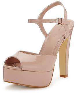 Georgia Platform Sandal Nude - predominant colour: nude; occasions: occasion; material: faux leather; heel: standard; toe: open toe/peeptoe; style: standard; finish: patent; pattern: plain; heel height: very high; shoe detail: platform; season: s/s 2016; wardrobe: event