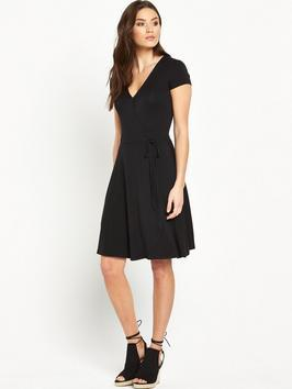 Curved Hem Jersey Tea Dress - neckline: low v-neck; pattern: plain; predominant colour: black; occasions: evening; length: on the knee; fit: fitted at waist & bust; style: fit & flare; fibres: viscose/rayon - stretch; sleeve length: short sleeve; sleeve style: standard; pattern type: fabric; texture group: jersey - stretchy/drapey; season: s/s 2016; wardrobe: event