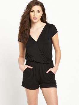 Wrap Front Jersey Playsuit - neckline: low v-neck; fit: fitted at waist; pattern: plain; length: short shorts; predominant colour: black; occasions: casual, holiday; fibres: polyester/polyamide - stretch; sleeve length: short sleeve; sleeve style: standard; style: playsuit; pattern type: fabric; texture group: jersey - stretchy/drapey; season: s/s 2016; wardrobe: holiday