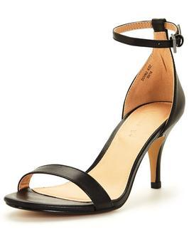 Buttercup Mid Heel Ankle Strap Sandal Black - predominant colour: black; occasions: evening, occasion; material: faux leather; heel height: mid; ankle detail: ankle strap; heel: stiletto; toe: open toe/peeptoe; style: standard; finish: plain; pattern: plain; season: s/s 2016; wardrobe: event