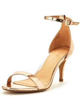 Buttercup Mid Heel Ankle Strap Sandal Gold - predominant colour: gold; occasions: evening, occasion; material: faux leather; heel height: mid; ankle detail: ankle strap; heel: stiletto; toe: open toe/peeptoe; style: standard; finish: metallic; pattern: plain; season: s/s 2016