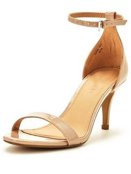 Buttercup Mid Heel Ankle Strap Sandal Nude - predominant colour: nude; occasions: evening, occasion; material: faux leather; heel height: mid; heel: stiletto; toe: open toe/peeptoe; style: standard; finish: patent; pattern: plain; season: s/s 2016