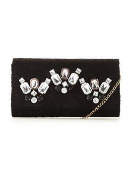 Lace Embellished Clutch Bag - secondary colour: silver; predominant colour: black; occasions: evening, occasion; type of pattern: standard; style: clutch; length: hand carry; size: small; material: fabric; embellishment: crystals/glass; pattern: plain; finish: plain; season: s/s 2016; wardrobe: event