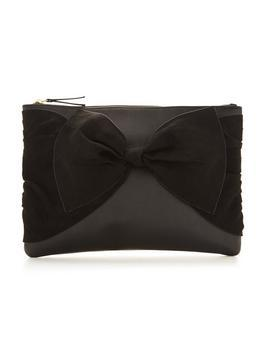Suedette Knot Bow Clutch Bag - predominant colour: black; occasions: evening, occasion; type of pattern: standard; style: clutch; length: across body/long; size: small; material: faux leather; pattern: plain; finish: plain; embellishment: bow; season: s/s 2016; wardrobe: event