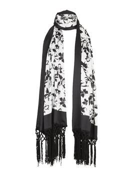 Conversational Butterfly Print Scarf - predominant colour: white; secondary colour: black; occasions: casual, creative work; type of pattern: large; style: regular; size: standard; material: fabric; embellishment: fringing; pattern: florals; season: s/s 2016; wardrobe: highlight