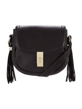 Double Tassel Saddle Bag - predominant colour: black; occasions: casual, creative work; type of pattern: standard; style: saddle; length: across body/long; size: standard; material: faux leather; embellishment: fringing; pattern: plain; finish: metallic; season: s/s 2016; wardrobe: highlight
