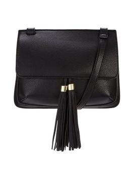 Double Tassel X Body Bag - predominant colour: black; occasions: casual, creative work; type of pattern: standard; style: shoulder; length: across body/long; size: standard; material: faux leather; embellishment: tassels; pattern: plain; finish: plain; season: s/s 2016
