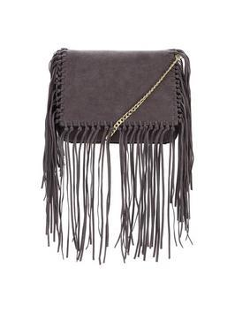Knot &Amp; Fringe Detail Crossbody Bag - predominant colour: charcoal; occasions: casual, creative work; type of pattern: standard; style: shoulder; length: across body/long; size: standard; embellishment: fringing; pattern: plain; finish: plain; material: faux suede; season: s/s 2016; wardrobe: investment
