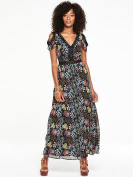 Lace Trim Printed Cold Shoulder Maxi Dress - neckline: low v-neck; sleeve style: angel/waterfall; style: maxi dress; length: ankle length; waist detail: belted waist/tie at waist/drawstring; secondary colour: hot pink; predominant colour: navy; fit: fitted at waist & bust; fibres: polyester/polyamide - 100%; occasions: occasion; sleeve length: short sleeve; pattern type: fabric; pattern: patterned/print; texture group: other - light to midweight; multicoloured: multicoloured; season: s/s 2016; wardrobe: event