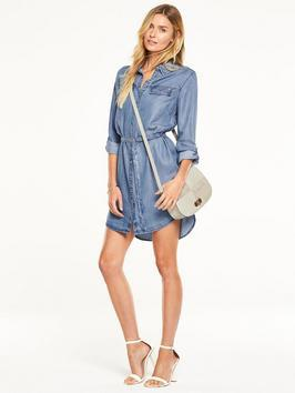 Denim Tencel Shirt Dress - style: shirt; length: mid thigh; neckline: shirt collar/peter pan/zip with opening; pattern: plain; waist detail: belted waist/tie at waist/drawstring; predominant colour: denim; occasions: casual; fit: body skimming; fibres: viscose/rayon - 100%; sleeve length: long sleeve; sleeve style: standard; pattern type: fabric; texture group: other - light to midweight; season: s/s 2016; wardrobe: highlight