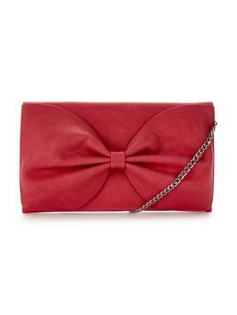 Bow Bag - predominant colour: true red; occasions: evening, occasion; type of pattern: standard; style: clutch; length: hand carry; size: small; material: faux leather; pattern: plain; finish: fluorescent; season: s/s 2016; wardrobe: event