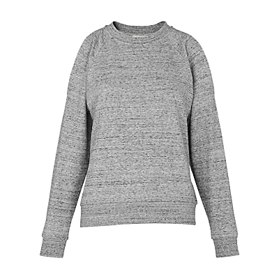 Cold Shoulder Jumper, Grey - style: standard; predominant colour: mid grey; occasions: casual, creative work; length: standard; fibres: cotton - 100%; fit: standard fit; neckline: crew; shoulder detail: cut out shoulder; sleeve length: long sleeve; sleeve style: standard; pattern type: fabric; pattern size: standard; texture group: jersey - stretchy/drapey; pattern: marl; season: s/s 2016; wardrobe: highlight
