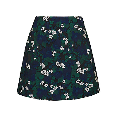 Pansy Jacquard Skirt, Multi - length: mini; fit: loose/voluminous; waist: high rise; secondary colour: white; predominant colour: navy; style: a-line; fibres: polyester/polyamide - 100%; occasions: occasion, creative work; pattern type: fabric; pattern: florals; texture group: brocade/jacquard; pattern size: standard (bottom); season: s/s 2016; wardrobe: highlight