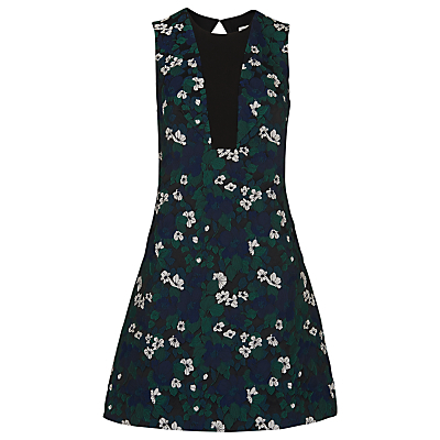 Pansy Jacquard Dress, Multi - style: shift; length: mid thigh; sleeve style: sleeveless; secondary colour: navy; predominant colour: dark green; fit: soft a-line; fibres: polyester/polyamide - 100%; occasions: occasion, creative work; neckline: crew; back detail: keyhole/peephole detail at back; sleeve length: sleeveless; pattern type: fabric; pattern size: standard; pattern: florals; texture group: brocade/jacquard; multicoloured: multicoloured; season: s/s 2016; wardrobe: highlight
