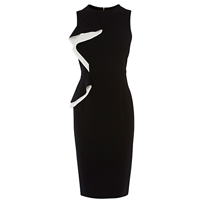 Karen Crepe Dress, Black - style: shift; fit: tailored/fitted; sleeve style: sleeveless; secondary colour: white; predominant colour: black; occasions: evening, occasion; length: on the knee; fibres: polyester/polyamide - 100%; neckline: crew; sleeve length: sleeveless; texture group: crepes; bust detail: bulky details at bust; pattern type: fabric; pattern size: standard; pattern: colourblock; season: s/s 2016; wardrobe: event