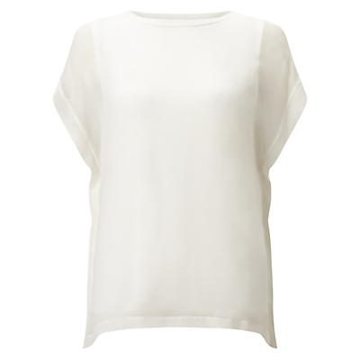 Silk Front Overlay T Shirt, Ivory - sleeve style: dolman/batwing; pattern: plain; style: t-shirt; predominant colour: ivory/cream; occasions: casual, work, creative work; length: standard; fibres: silk - mix; fit: straight cut; neckline: crew; sleeve length: short sleeve; texture group: silky - light; pattern type: fabric; season: s/s 2016; wardrobe: basic