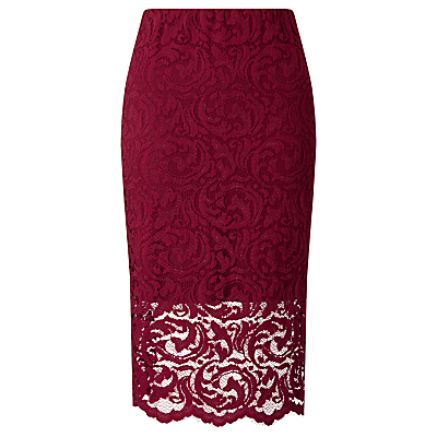 Alia Lace Pencil Skirt, Beet Red - style: pencil; fit: tailored/fitted; waist: high rise; hip detail: draws attention to hips; predominant colour: burgundy; occasions: evening, occasion; length: on the knee; fibres: polyester/polyamide - stretch; texture group: lace; pattern type: fabric; pattern: patterned/print; pattern size: standard (bottom); season: s/s 2016; wardrobe: event