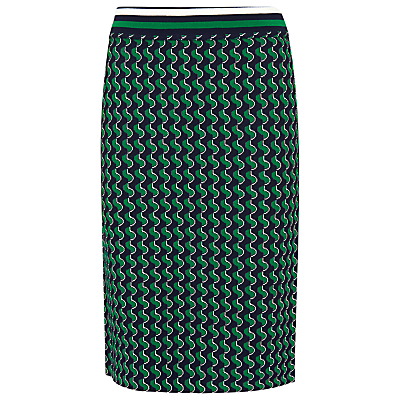 Jacquard Skirt, Green/Multi - style: pencil; waist: mid/regular rise; predominant colour: emerald green; secondary colour: nude; length: on the knee; pattern: dogtooth; fit: straight cut; pattern type: fabric; texture group: brocade/jacquard; fibres: viscose/rayon - mix; occasions: creative work; pattern size: standard (bottom); season: s/s 2016; wardrobe: highlight