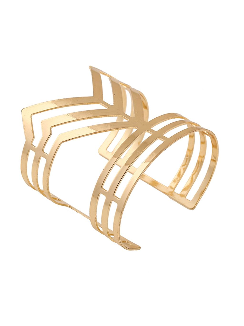 Gold Chevron Bangle, Gold - predominant colour: gold; occasions: evening; style: cuff; size: large/oversized; material: chain/metal; finish: metallic; season: s/s 2016; wardrobe: event