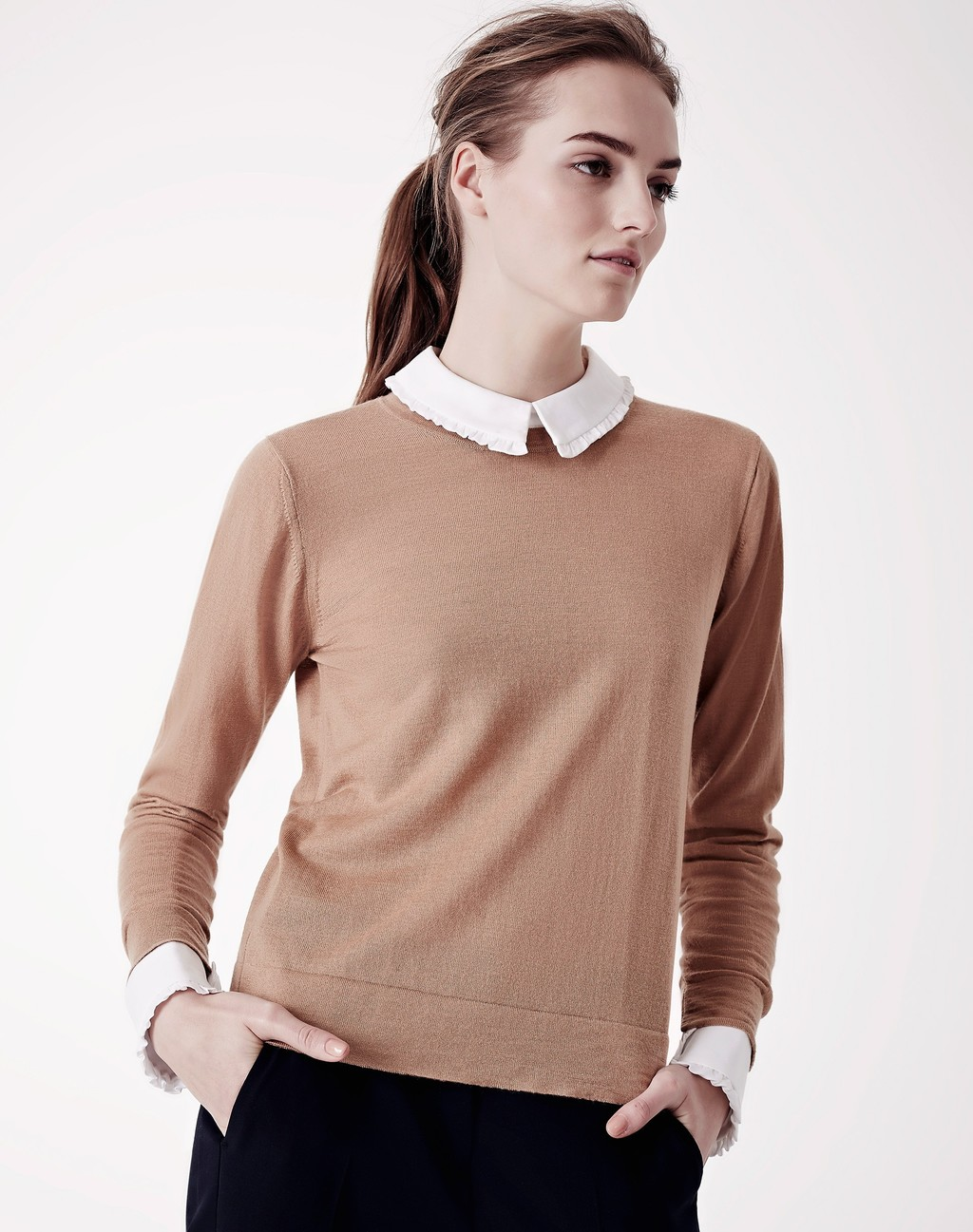 The Perfect Crew Neck Jumper Biscuit - style: standard; secondary colour: ivory/cream; predominant colour: camel; occasions: casual; length: standard; fibres: cotton - mix; fit: standard fit; neckline: no opening/shirt collar/peter pan; sleeve length: long sleeve; sleeve style: standard; texture group: knits/crochet; pattern type: knitted - fine stitch; pattern size: standard; pattern: colourblock; season: a/w 2015; wardrobe: highlight