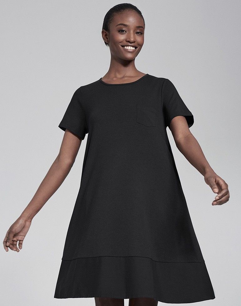 Woven Mix Swing Dress Black - style: trapeze; neckline: round neck; fit: loose; pattern: plain; predominant colour: black; occasions: work, occasion; length: just above the knee; fibres: cotton - mix; hip detail: subtle/flattering hip detail; sleeve length: short sleeve; sleeve style: standard; pattern type: fabric; texture group: jersey - stretchy/drapey; season: s/s 2016; wardrobe: investment