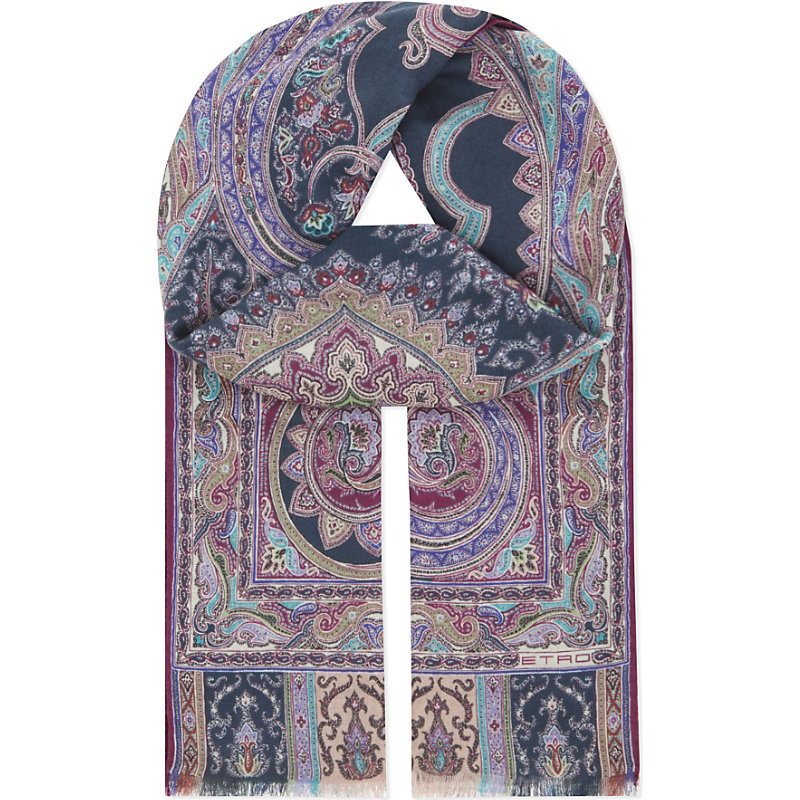 Paisley Wool Silk Scarf, Women's, Black - secondary colour: lilac; predominant colour: royal blue; occasions: casual, creative work; type of pattern: heavy; style: regular; size: standard; material: fabric; pattern: patterned/print; multicoloured: multicoloured; season: s/s 2016