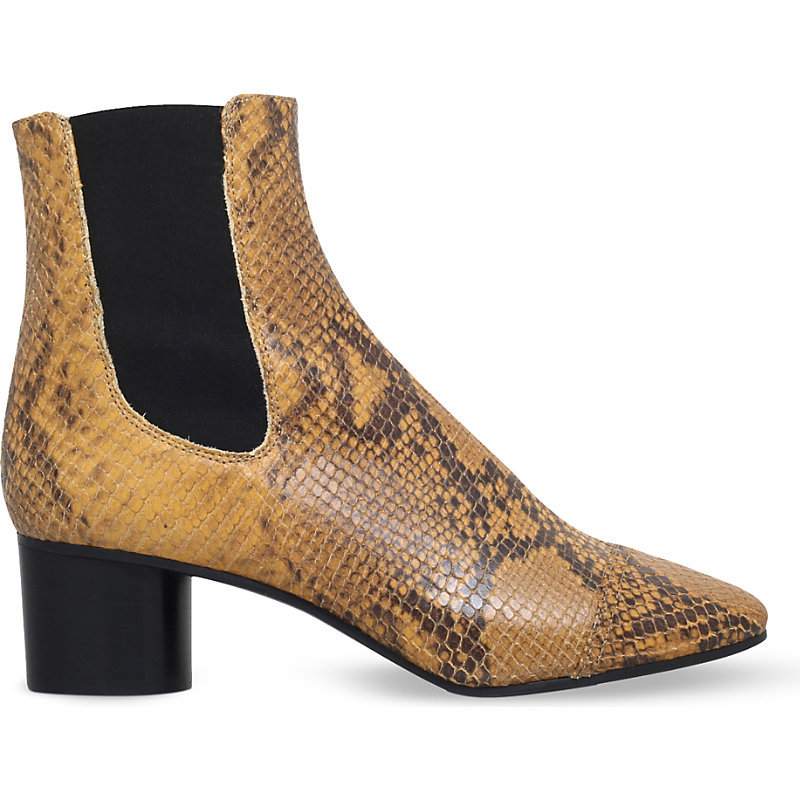 Danae Reptile Effect Leather Ankle Boots, Women's, Eur 41 / 8 Uk Women, Camel/Oth - predominant colour: camel; secondary colour: black; occasions: casual, creative work; material: leather; heel height: mid; heel: block; toe: pointed toe; boot length: ankle boot; style: standard; finish: plain; pattern: animal print; season: s/s 2016; wardrobe: highlight