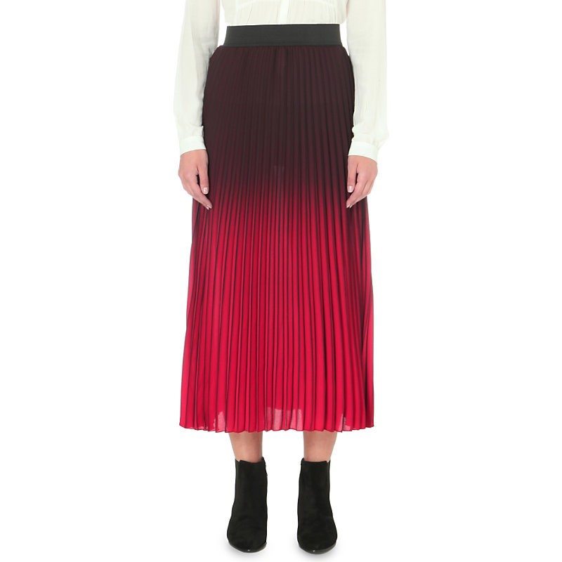 Jonael Pleated Woven Skirt, Women's, Size: S, Bordeaux - length: calf length; pattern: plain; fit: body skimming; style: pleated; waist: mid/regular rise; predominant colour: true red; secondary colour: black; occasions: evening; fibres: polyester/polyamide - 100%; pattern type: fabric; texture group: woven light midweight; multicoloured: multicoloured; season: s/s 2016; wardrobe: event