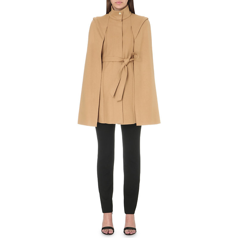 Glasgow Wool Blend Coat, Women's, Camel - pattern: plain; length: below the bottom; collar: funnel; fit: loose; style: cape; predominant colour: camel; occasions: casual, creative work; fibres: wool - mix; waist detail: belted waist/tie at waist/drawstring; sleeve length: long sleeve; collar break: high; pattern type: fabric; texture group: other - bulky/heavy; sleeve style: cape/poncho sleeve; season: s/s 2016; wardrobe: highlight