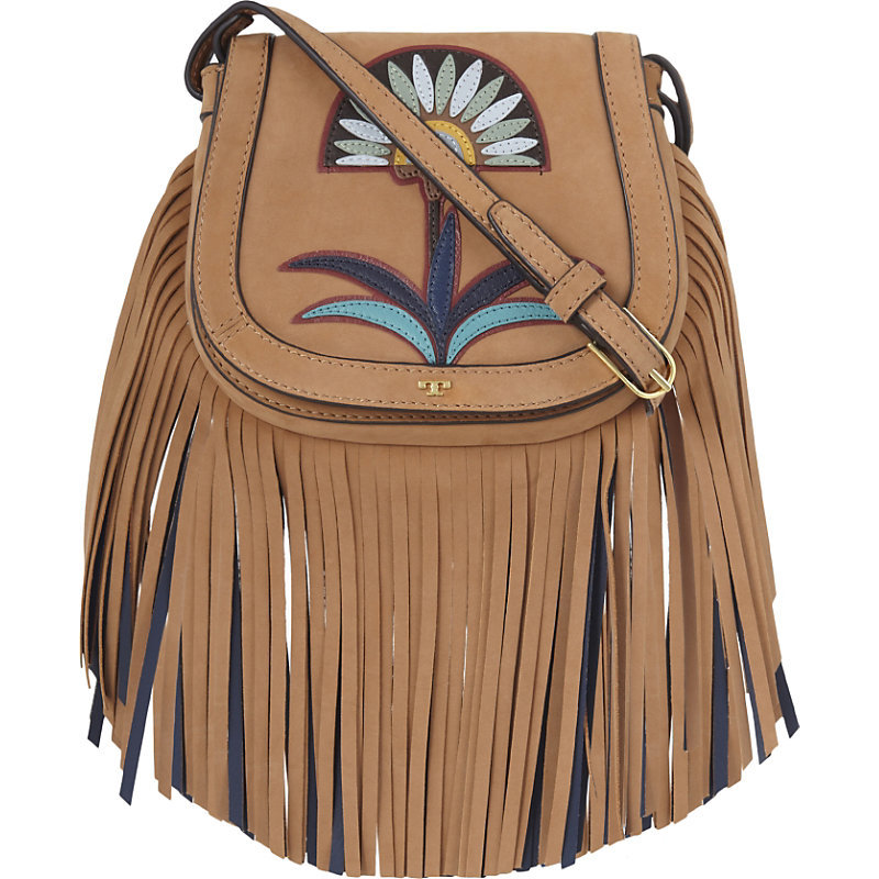 Lilium Mini Suede Saddlebag, Women's, Camello - predominant colour: tan; occasions: casual; type of pattern: light; style: saddle; length: across body/long; size: standard; material: leather; embellishment: fringing; pattern: florals; finish: plain; season: s/s 2016; wardrobe: highlight