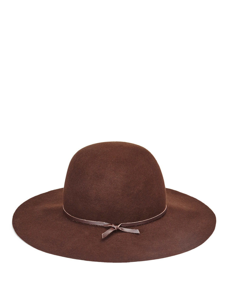 Hazel Leather Trim Round Hat - predominant colour: chocolate brown; occasions: casual; type of pattern: standard; style: fedora; size: standard; material: felt; pattern: plain; season: s/s 2016; wardrobe: basic