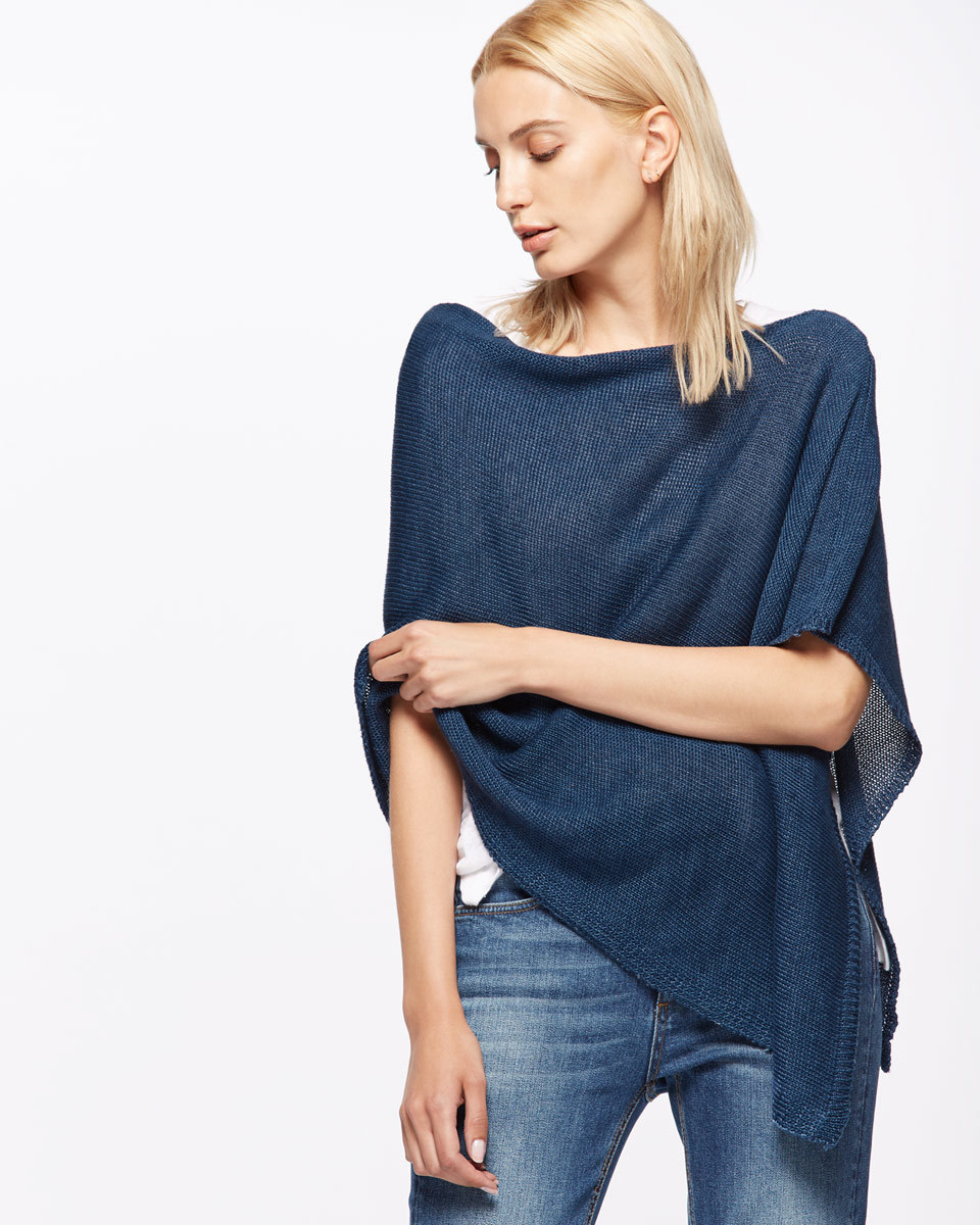 Linen Poncho - neckline: scoop neck; pattern: plain; style: poncho; predominant colour: royal blue; occasions: casual, creative work; length: standard; fibres: polyester/polyamide - 100%; fit: loose; sleeve length: half sleeve; texture group: knits/crochet; pattern type: knitted - fine stitch; sleeve style: cape/poncho sleeve; season: s/s 2016; wardrobe: highlight